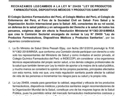 El Colegio Químico Farmacéutico del Perú y otras instituciones expresan su rechazo a la RM N°1362-2018/MINSA