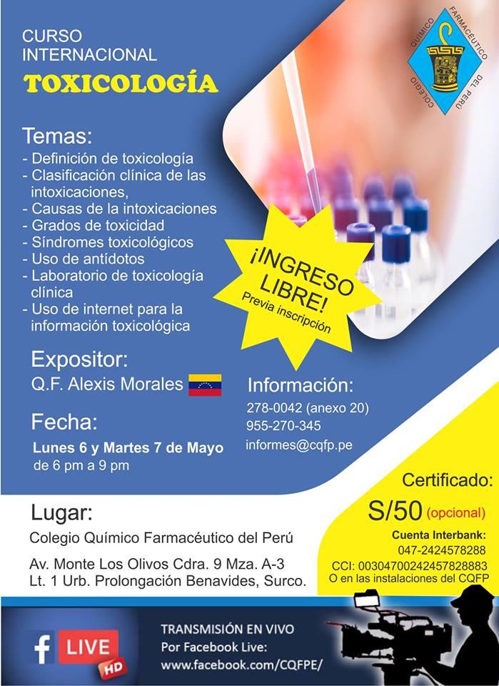 Curso Internacional Toxicología – COLEGIO QUÍMICO