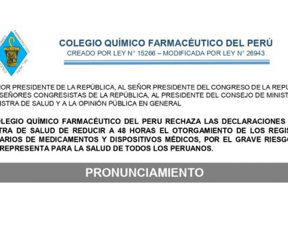 Rechazo a la propuesta de reducir a 48 horas el otorgamiento de Registros Sanitarios de medicamentos y dispositivos médicos