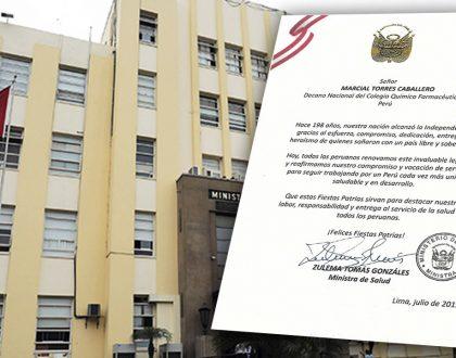 Ministra de Salud Zulema Tomás Gonzáles saluda al Colegio Químico Farmacéutico por aniversario patrio