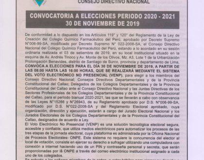 Comunicado de Convocatoria a Elecciones Periodo 2020 - 2021