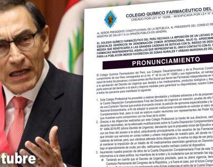 Pronunciamiento dirigido al Presidente de la República rechazando la imposición de un listado de medicamentos esenciales genéricos bajo el apercibimiento de multa.