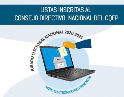 LISTAS INSCRITAS AL CONSEJO DIRECTIVO  NACIONAL  DEL CQFP