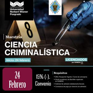 """Maestría en """"Ciencia Criminalística"""""""