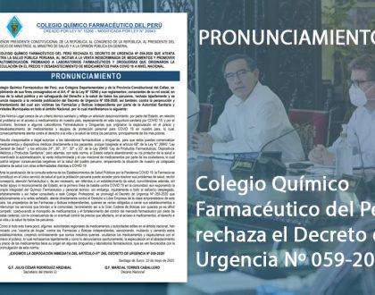 Pronunciamiento: Colegio Químico Farmacéutico del Perú rechaza el Decreto de Urgencia Nº 059-2020