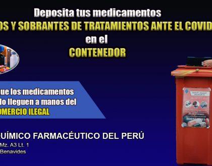 Elimine medicamentos vencidos y sobrantes de tratamientos COVID-19 en el Colegio Químico Farmacéutico del Perú