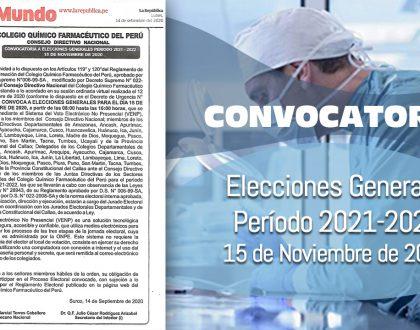 Convocatoria a Elecciones Generales Período 2021-2022 - 15 de Noviembre de 2020.