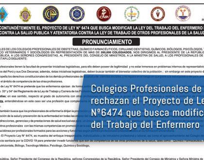 Colegios Profesionales de la Salud rechazan el Proyecto de Ley Nº6474 que busca modificar Ley del Trabajo del Enfermero