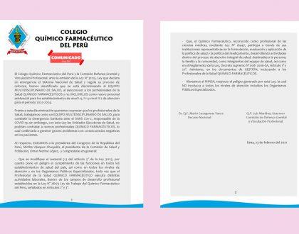 COMUNICADO DE LA COMISIÓN DE DEFENSA GREMIAL Y VINCULACIÓN PROFESIONAL DEL CQFP