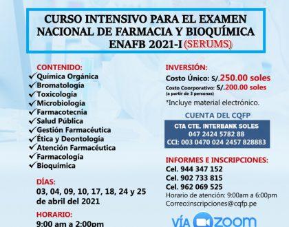 Curso intensivo para el examen nacional de Farmacia y Bioquímica ENAFB 2021-I