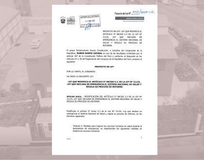 PROYECTO DE LEY QUE REINCORPORA LA CONTRATACIÓN DEL QUÍMICO FARMACÉUTICO EN LOS ESTABLECIMIENTOS DE NIVEL I-4 II-1 y II-2 PARA EL PERIODO 2020-2024, INGRESÓ A MESA DE PARTES DEL CONGRESO
