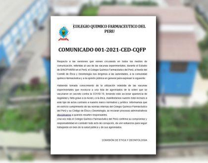 Comisión de Ética y Deontología - COMUNICADO 001-2021-CED-CQFP