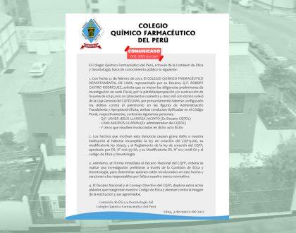 COMUNICADO DE LA COMISIÓN DE ÉTICA Y DEONTOLOGÍA N° 002-2021-CED