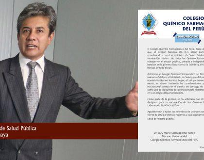 COMUNICADO 004 DN RESPECTO AL PROCESO DE VACUNACIÓN DE LOS QUÍMICO FARMACÉUTICOS